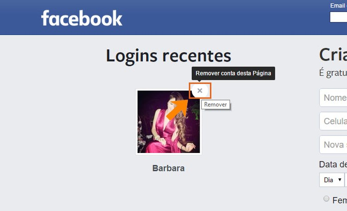 Remova seu perfil do login recente do Facebook no PC (Foto: Reprodução/Barbara Mannara)