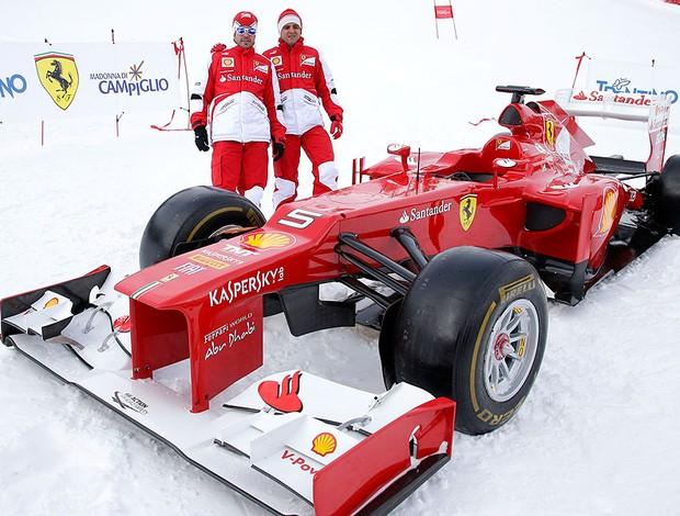 Alonso e Massa em evento de inverno em Madonna di Campiglio (Foto: Reuters)