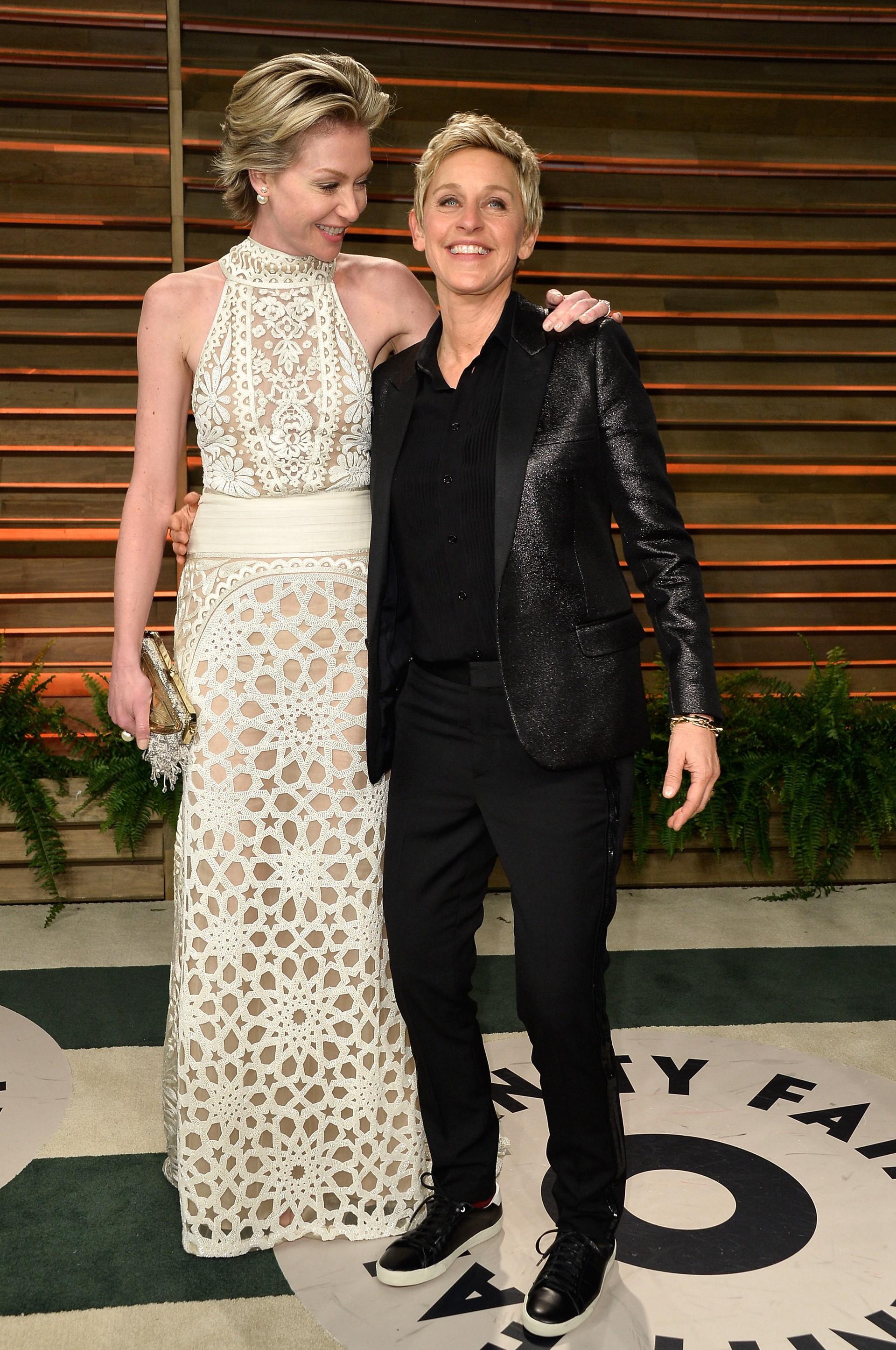 A apresentadora DeGeneres é casada com a atriz De Rossi desde 2008. Por ano, Ellen ganha US$ 53 milhões. (Foto: Getty Images)