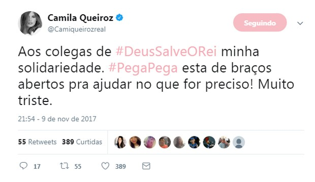 Camila Queiroz lamenta incêndio em galpão de Deus Salve o Rei (Foto: Reprodução/Twitter)
