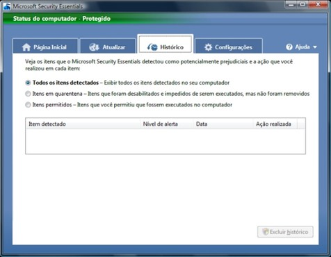 screenshot de Microsoft Security Essentials