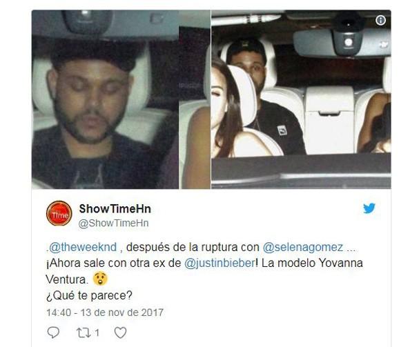 The Weeknd e Yovannna (Foto: Reprodução/Twitter)