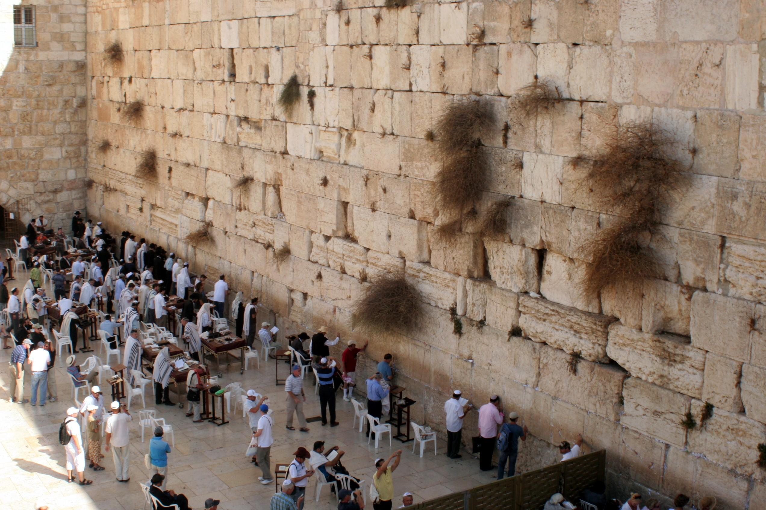 Muro das Lamentações, que corresponde às ruínas do segundo Templo de Salomão (Foto: Wikimedia Commons)