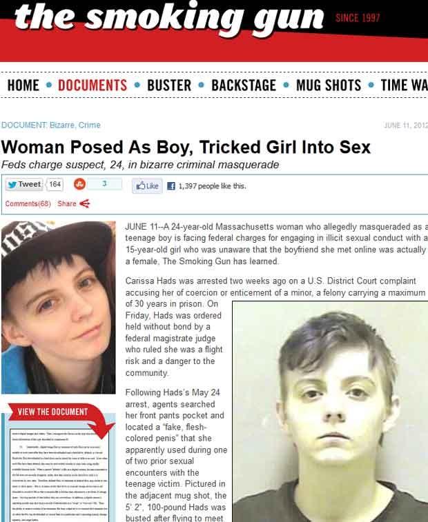 """Uma mulher de 24 anos foi presa nos EUA acusada de se passar por um adolescente para manter relações sexuais com uma garota de 15 anos, relata o """"The Smoking Gun"""". (Foto: Reprodução)"""