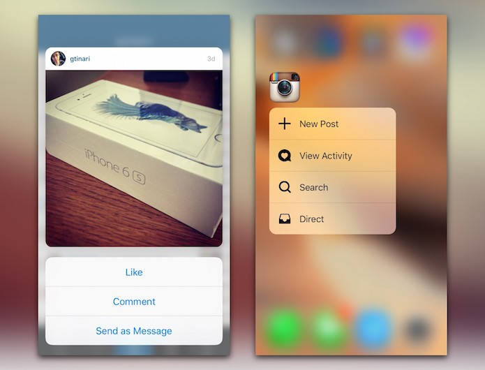 Instagram tem suporte ao 3D Touch (Foto: Reprodução/Cult of Mac)