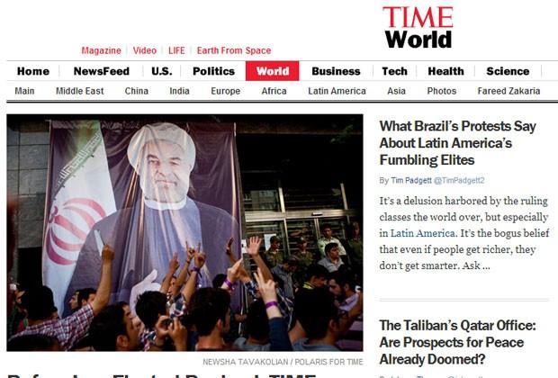 Reportagem sobre os protestos do Brasil foram destaque no site da Revista Time (Foto: Reprodução)