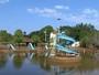 Estiagem seca represa e piscinas em parque náutico em Batatais, SP
