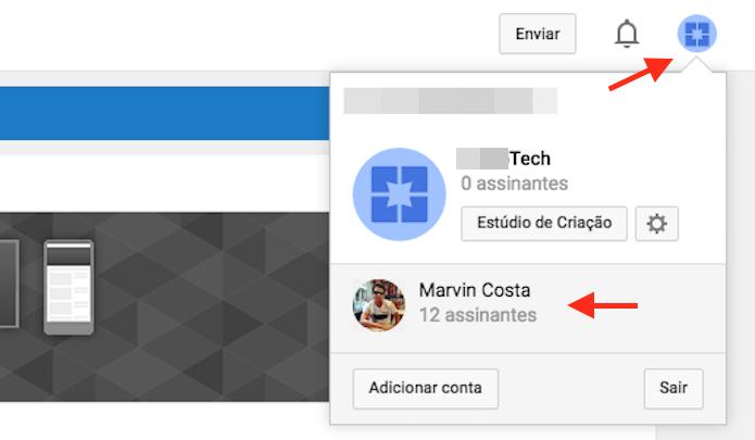 Alternando entre os canais criados em uma conta do YouTube (Foto: Reprodução/Marvin Costa)