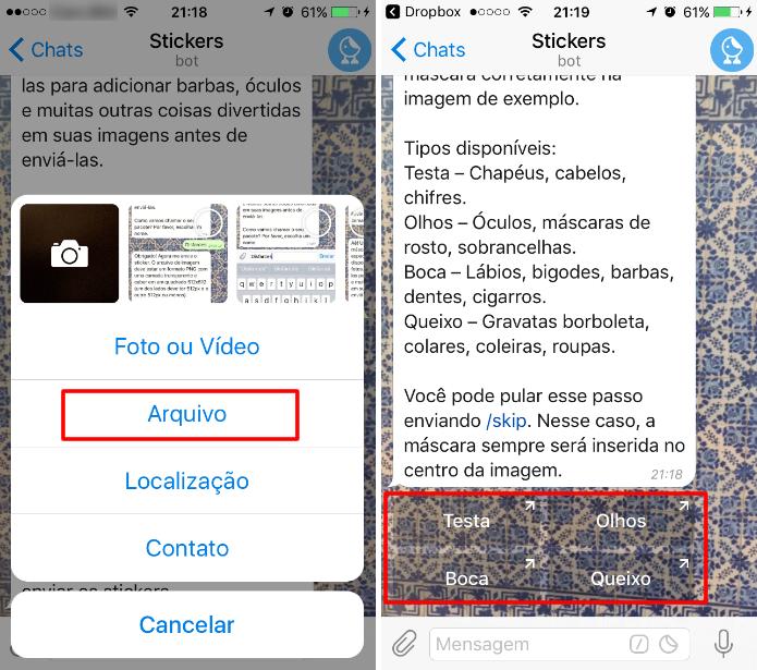 """Envie as imagens por anexo como """"Arquivo"""" e escolha uma das quatro classificações para a máscara do Telegram (Foto: Reprodução/Daniel Ribeiro)"""