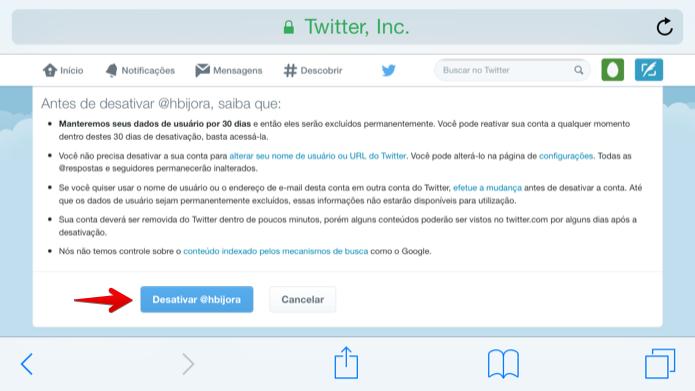 Desativando conta do Twitter (Foto: Reprodução/Helito Bijora)