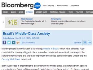 Texto da Bloomberg cita envolvimento da classe média nos protestos (Foto: Reprodução)