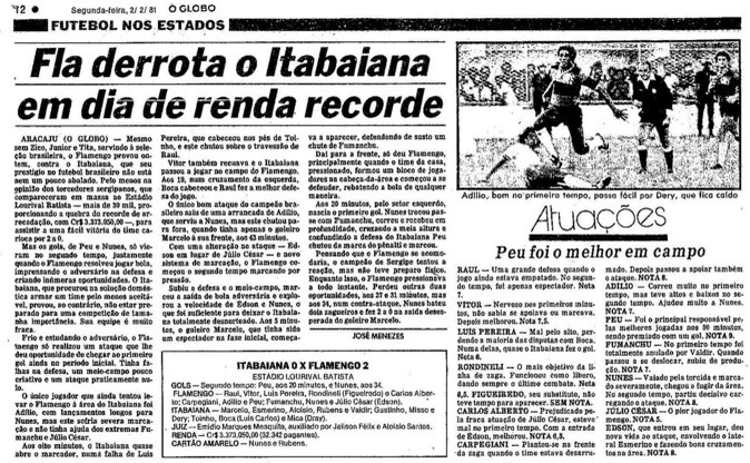 Fla venceu Itabaiana, o campeão local, com gol do sergipano Nunes (Foto: Reprodução O Globo)