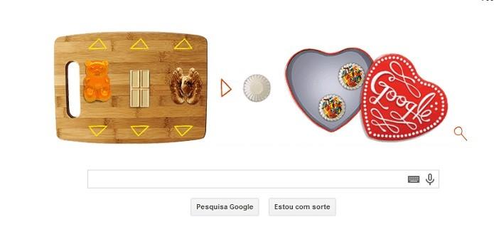 O doodle do Google permite usar três ingredientes para formar o doce (Reprodução/Google)