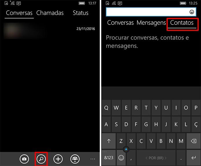 WhatsApp tem botão que pode ser usado para pesquisar contatos (Foto: Reprodução/Elson de Souza)