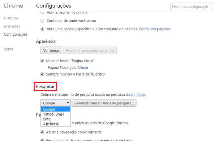 Configuração do mecanismo de pesquisa no Google Chrome (Foto: Reprodução/Marcela Vaz)
