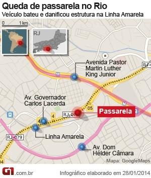 Veja o local do acidente com uma carreta na Linha Amarela (Foto: Arte/G1)
