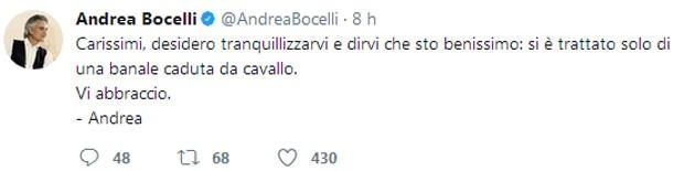 Andrea Bocelli tranquila fãs (Foto: Reprodução)