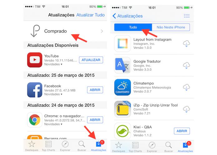Acessando a lista de todos aplicativos baixados pela App Store do iPhone (Foto: Reprodução/Marvin Costa)