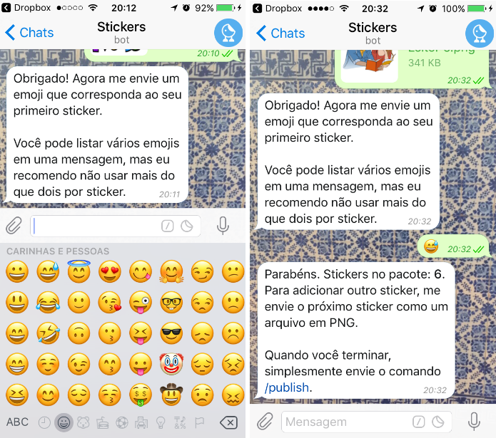 Responda ao bot do Telegram com um emoji para configurar o comando de ativação do sticker (Foto: Reprodução/Daniel Ribeiro)