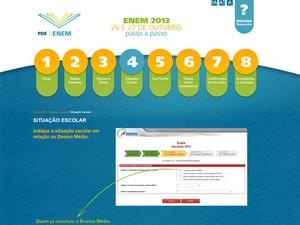 Site traz o passo a passo para a inscrição no Enem 2013 (Foto: Reprodução)