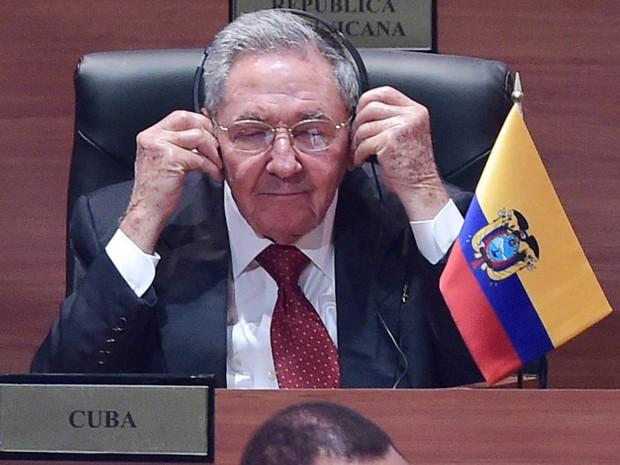 O presidente de Cuba, Raúl Castro, na cerimônia de abertura da Cúpula das Américas, no Panamá (Foto: Mandel Ngan/AFP)