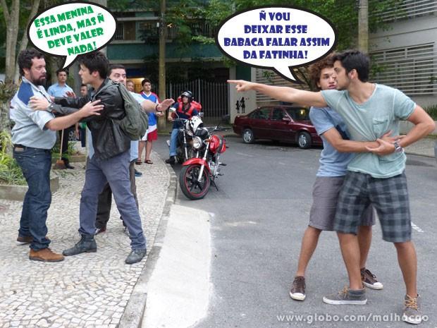 VISH! Treta!!! O Bruno vai perder a paciência com o Axel! (Foto: Malhação / Tv Globo)