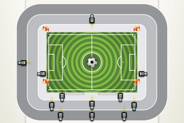 Imagem divulgada pela Sony Brasil mostra posicionamento das câmeras 4K nos estádios onde ocorrerão os testes (Foto: Divulgação/Sony Brasil)