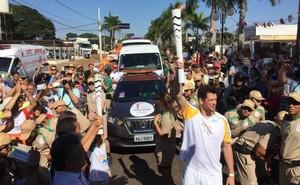 Tocha Olímpica em Nova Andradina (MS) (Foto: Pedro Veríssimo / GloboEsporte.com)