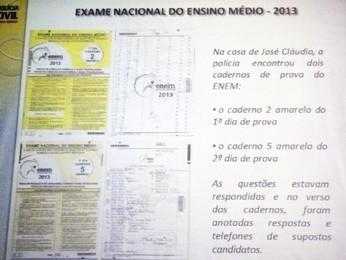 Prova do Enem encontrada com um dos suspeitos (Foto: Pedro Triginelli/G1)