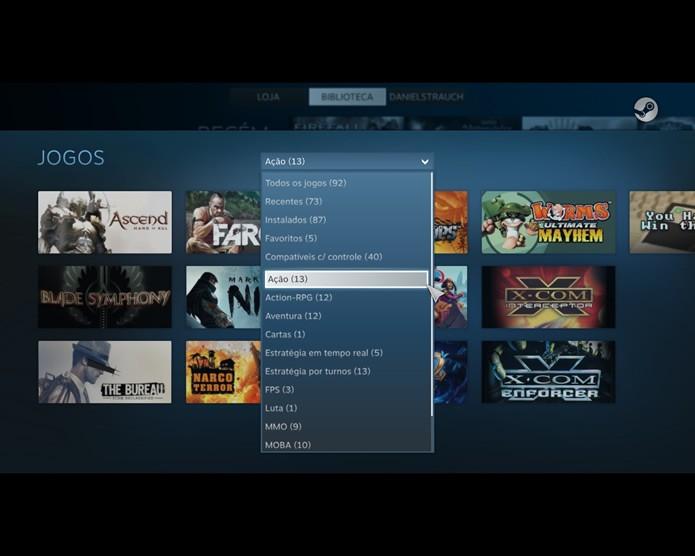 """Organizando a biblioteca de games do Steam a apresentação de seu conteúdo no modo """"Big Picture"""" ficará ainda melhor (Foto: Reprodução/Daniel Ribeiro)"""
