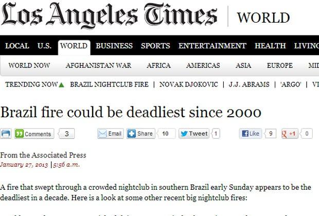 'Los Angeles Times' citou a gravidade do incêndio (Foto: Reprodução)