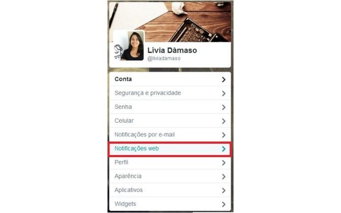 """Clique em """"Notificações da Web"""" na página de configurações do Twitter (Foto: Reprodução/Lívia Dâmaso)"""