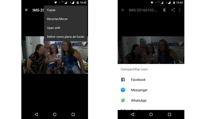 Menus que permitem copiar, recortar, mover ou compartilhar foto excluída do WhatsApp (Foto: Reprodução/Raquel Freire)