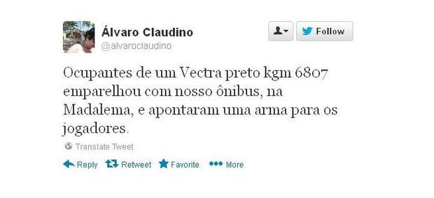 Assessor de imprensa do Sport Alvaro Claudino (Foto: Reprodução Twitter)