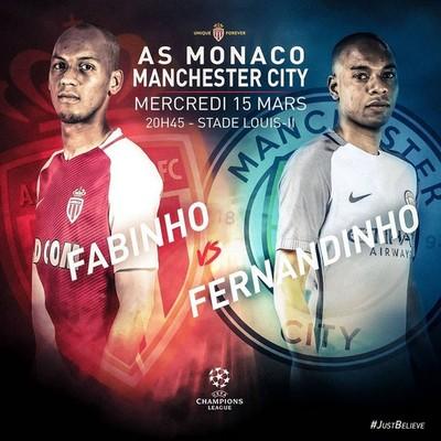 Fabinho x Fernandinho: Monaco x Manchester City (Foto: Divulgação / Monaco)