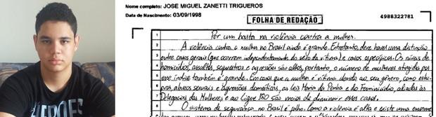 Trecho da redação do estudante José Miguel Trigueros (Foto: Arquivo pessoal/ Reprodução)