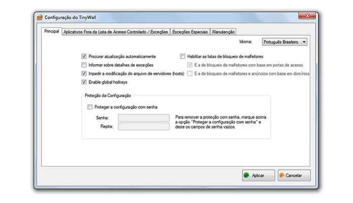 O TinyWall tem configuração similar ao firewall nativo do Windows (Foto: Reprodução/Karla Soares) (Foto: O TinyWall tem configuração similar ao firewall nativo do Windows (Foto: Reprodução/Karla Soares))