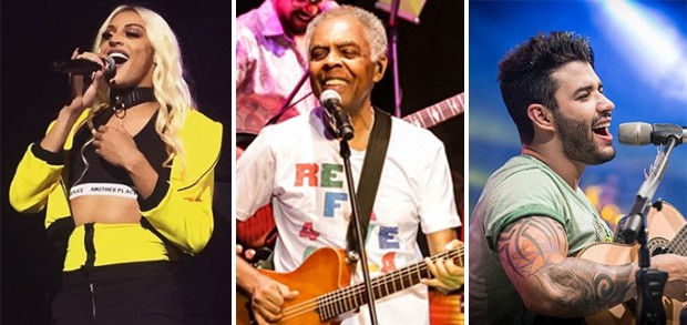 Pabllo Vittar; Gilberto Gil; Gusttavo Lima (Foto: Reprodução/Instagram)