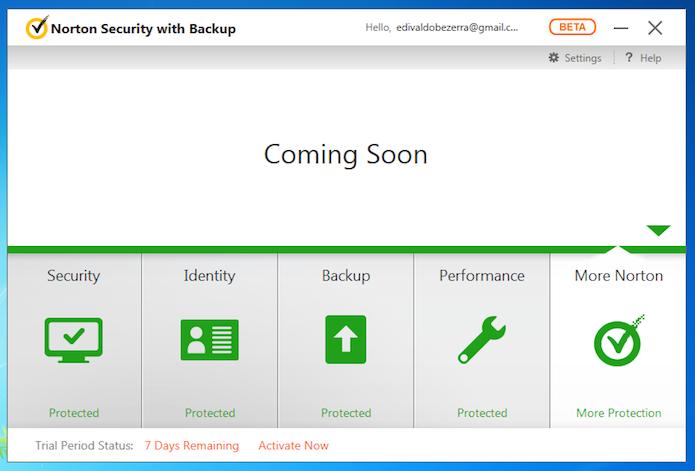 Tela principal do Norton Security beta (Foto: Reprodução/Edivaldo Brito)
