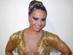 Viviane Araújo, rainha de bateria da Mancha Verde (Foto: Marcelo Mora/G1)