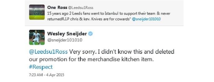 BLOG: Após gafe com torcedores assassinados, Sneijder apaga propaganda de facas