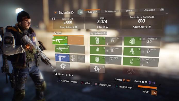 The Division: lista de equipamentos está em Visão Geral (Foto: Reprodução/Victor Teixeira)