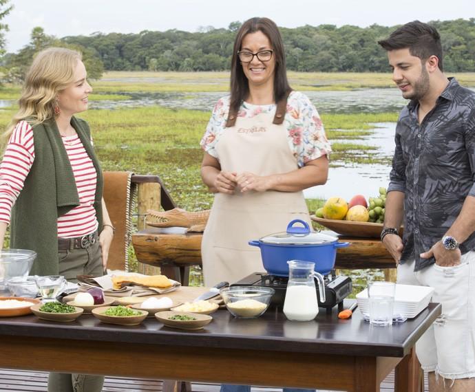 Angélica, a chef Tilma Bongiovanni e Cristiano Araújo (Foto: Gabriel Nascimento/Gshow)