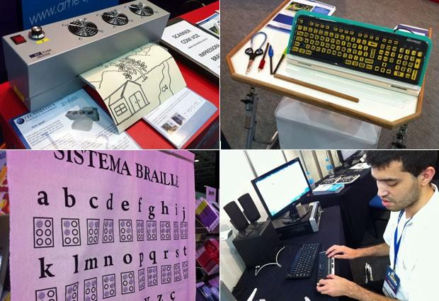 Produtos para a inclusão escolar de alunos com deficiência física e visual (Foto: Ana Carolina Moreno/G1)