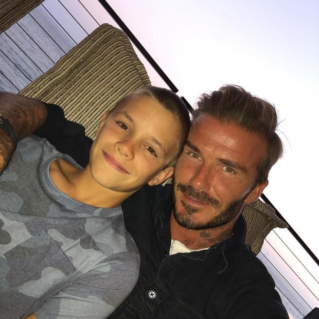 David Beckham com o filho Romeo (Foto: Reprodução / Instagram)