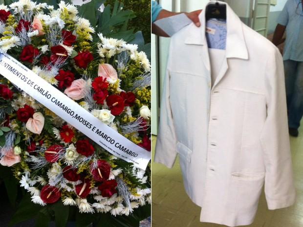 Coroa de flores deixada para Jair Rodrigues e o terno com o qual ele deve ser enterrado (Foto: G1)