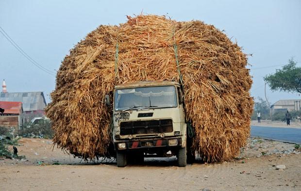 Caminhão foi flagrado sobrecarregado na Somália (Foto: Isaac Kasamani/AFP)
