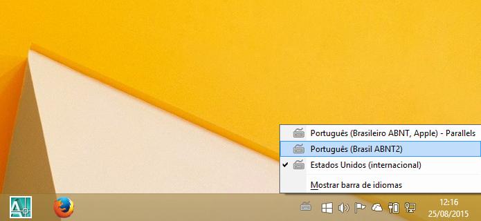 Selecionando o layout do teclado a ser usado (Foto: Reprodução/Helito Bijora)  (Foto: Selecionando o layout do teclado a ser usado (Foto: Reprodução/Helito Bijora) )