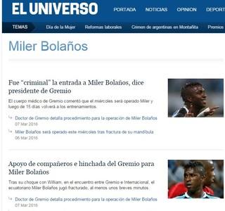 El Universo cobre a lesão de Bolaños (Foto: Reprodução )