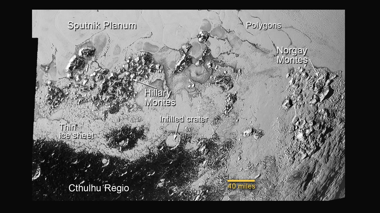 Região sul da Sputnik Planum contém planícies congeladas a grandes montanhas (Foto: NASA)